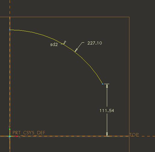 Периметр дуги Pro/ENGINEER