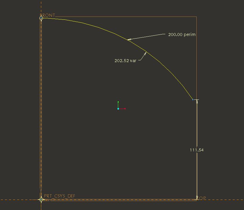 Радиус и длина дуги Pro/ENGINEER